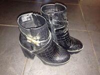 Chunky heeled boots, size 4, hardly worn