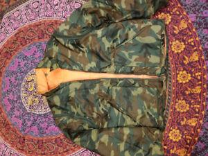 Reversible Camo jacket with zip off sleeves