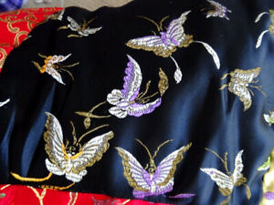 CHINESE QUILT THROW satin BUTTERFLIES black gold red EMBROIDERED