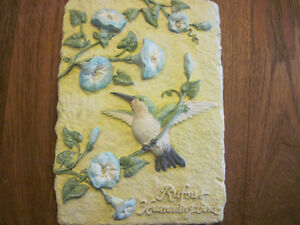 Hummingbird Birds and Flowers 3D, Hand-Painted Wall Plaque