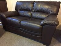 Reids luxury dark brown leather 2 & 2 sofa set - can deliver today