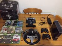 Xbox 360 with quality steering wheel and 9 games