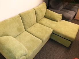 Designer corner sofa... light green.. Reduced to £299 sale price