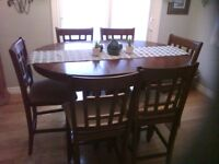 Kitchen 7 piece dining table, counter top height