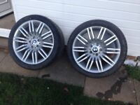 "Two 19"" bmw wheels brand new tyres"