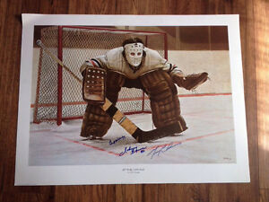 """Ken Dansby """"At The Crease"""" Litho Signed by HOF Goalies"""