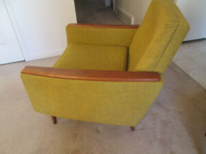 on hold -Mid Century Lounge chair , teak arm caps and round legs