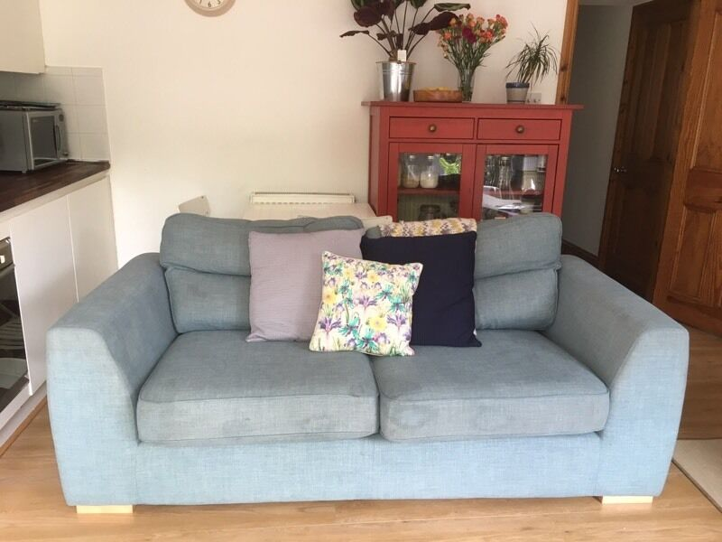 Dfs Sky Blue Large Sofa Settee 3 Seater
