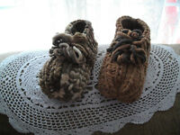HAND KNITTED PLUSH SLIPPERS