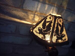 Outdoor patio antique copper oil lamp art shade griffin detail Windsor Region Ontario image 1