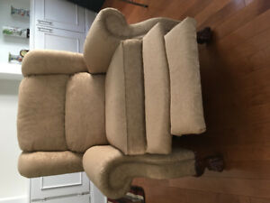Two gold fabric, Lay-Z-Boy recliners. Excellent condition.