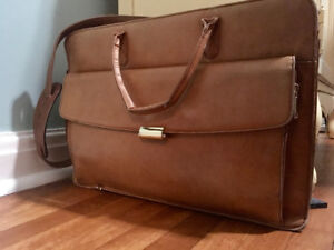 Vintage tan leather briefcase