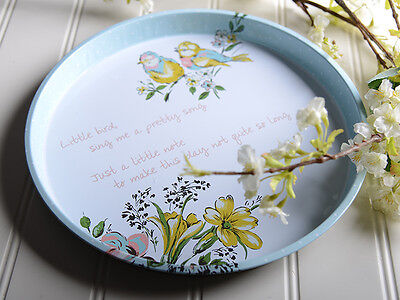 KATIE ALICE Bird Song SHABBY CHIC Vintage Style ROUND TIN SERVING TRAY