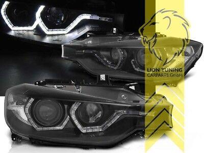 31 Schwarz Led (LED Angel Eyes Scheinwerfer für BMW F30 Limousine F31 Touring schwarz)