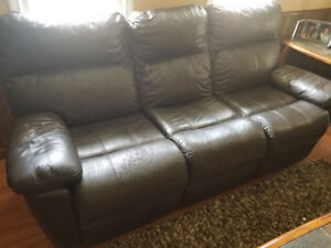 Barely used leather recliner sofa