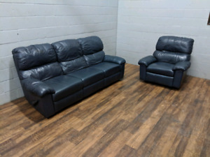 (Free Delivery) - Elran leather reclining sofa and rocking chair
