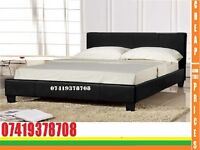Kingsize leather Bed with Mattress