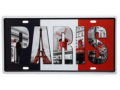 Schmuckes Vintage Blechschild Deko PARIS SOUVENIR FRANKREICH FLAGGE Retro Schild ()