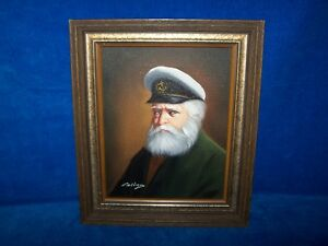 VINTAGE & RARE DAVID PELBAM STUNNING SEA CAPTAIN OIL PAINTING.