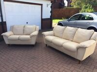 Lovely cream full leather 3 & 2 sofa set - great condition - can deliver