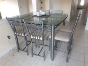 9 pc glass table