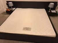 Super King Size bed frame with bedside tables and super king size mattress