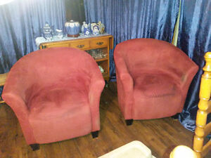 Two Red Tub Chairs