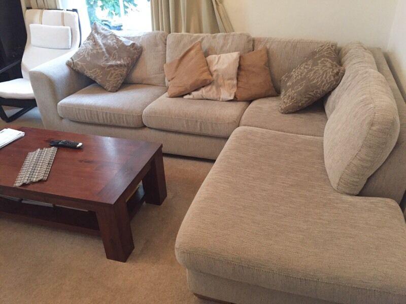Large Beige John Lewis Corner Sofa In Westminster