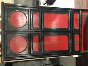Red and black decorative storage cabinet