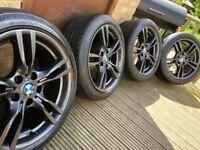 "Genuine BMW 3 Series 18"" 400 M Sport Alloy Wheels & Tyres F30 F31 F32 F33 E46 E90 E92 Z4 AN"