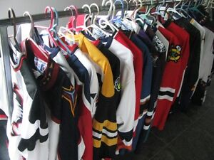 HOCKEY JERSEYS-- 30 TO CHOOSE FROM ASSORTED TEAMS L- XL