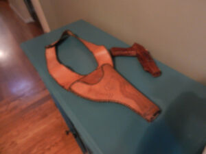 Leather Holster and Wooden Play Gun Vintage