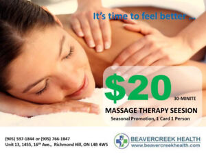 Massage Therapy Richmond Hill - Promotion $20 per half hour