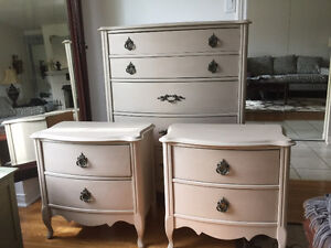 Tall chest of drawers and night stands - solid wood