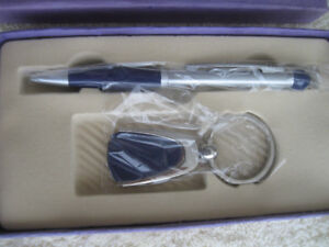 TWO-PIECE SET...PEN and CHROMED KEY RING...in ORIGINAL BOX