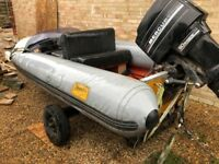 Flatcraft force4 rib boat with trailer and 50cc mercury outboard.
