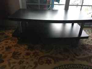 Tv stand, wooden dining set and glass top coffee table