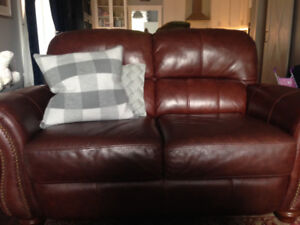 Rich Brown Leather Couches - $400