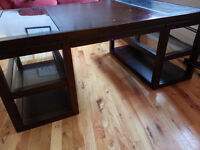 Mahogany and Glass Coffee and End Table - $500 OBO