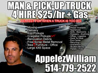 Montreal Man And Pick-Up Truck For Hire $25/hr Plus Gas