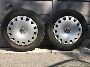 Winter Tires on Steel Rims with VW Wheel Covers - $1,197 new