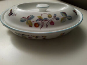 "Royal Worcester ""Strawberry Fair"" Oval dish with lid."