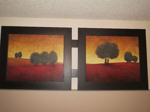 Beautiful LARGE double painting with solid wood frame