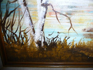 """Charming Roy Robson """"By The Birches"""" Original Oil Painting 1989 Stratford Kitchener Area image 4"""