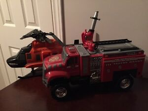 Tonka Firetruck and Helicopter