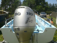 Boat, 90 hp outboard and trailer
