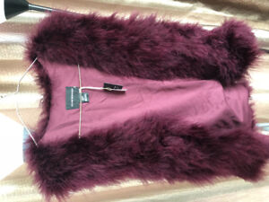 Club Monaco Red Violet Fur Vest