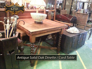 Antique Solid Oak Dining / Kitchen / Bridge / Card / Games Table