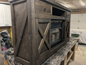 Fireplace tv stand cabinet with sliding barn style doors