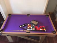 Pool Table – BCE, folds away, 5', purple baize, cues, triangle, pool & snooker balls vg condition!
